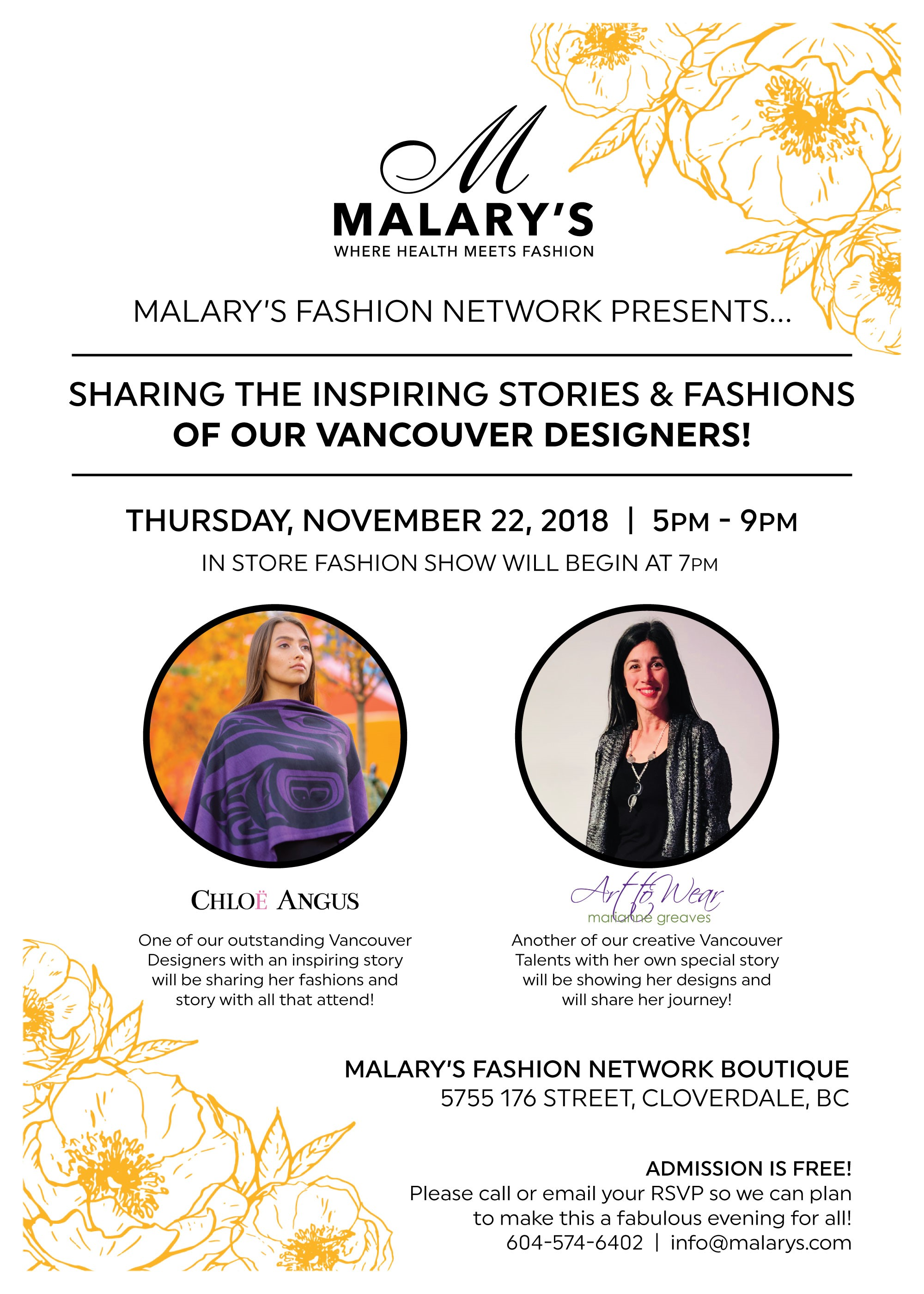 Malary S Fashion Network Presents Vancouver Designers Sharing Their Stories And Fashions Malary S